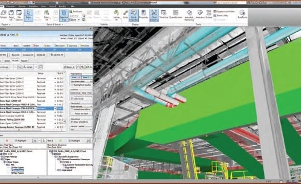 3D clash detection in FedEx Ground Retrofit Project PrecisionPoint